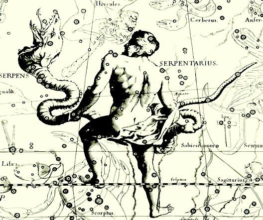 Serpentaire 13e signe astrologique dessin porteur de serpent